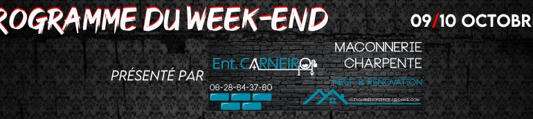 Programme du week-end (09/10 Octobre)